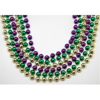 """48"""" 10mm Round Beads Purple, Green, and Gold"""