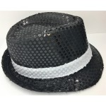 Black Sequin Fedora With White Band