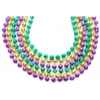 "33"" 7mm Global Beads Purple, Green, and Gold"