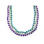 "33"" 7mm Round Beads Purple, Green, and Gold"